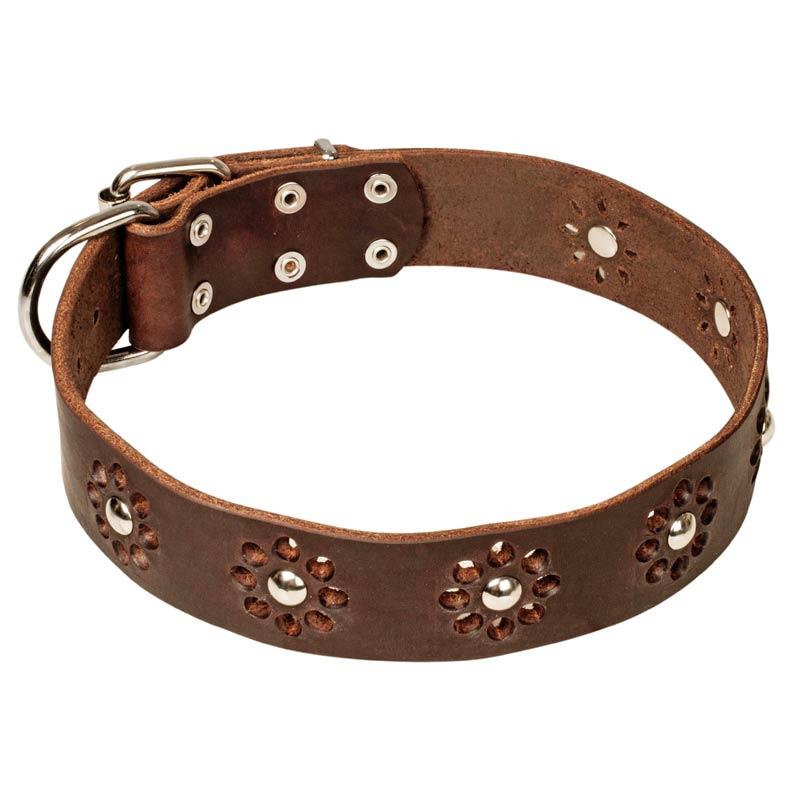 Collar de perro decorado artesanal elegante flor c8 - Collares de cuero ...